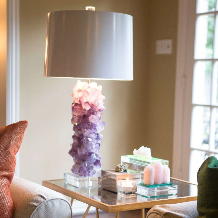 elegant crystal lamp with modern touch on a living room side table
