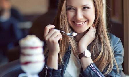 eating a dessert