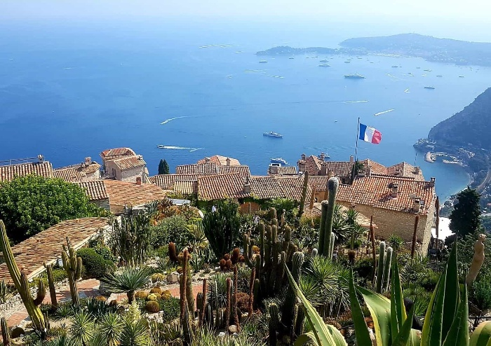 eze town in france small town sea view with boats and cacti
