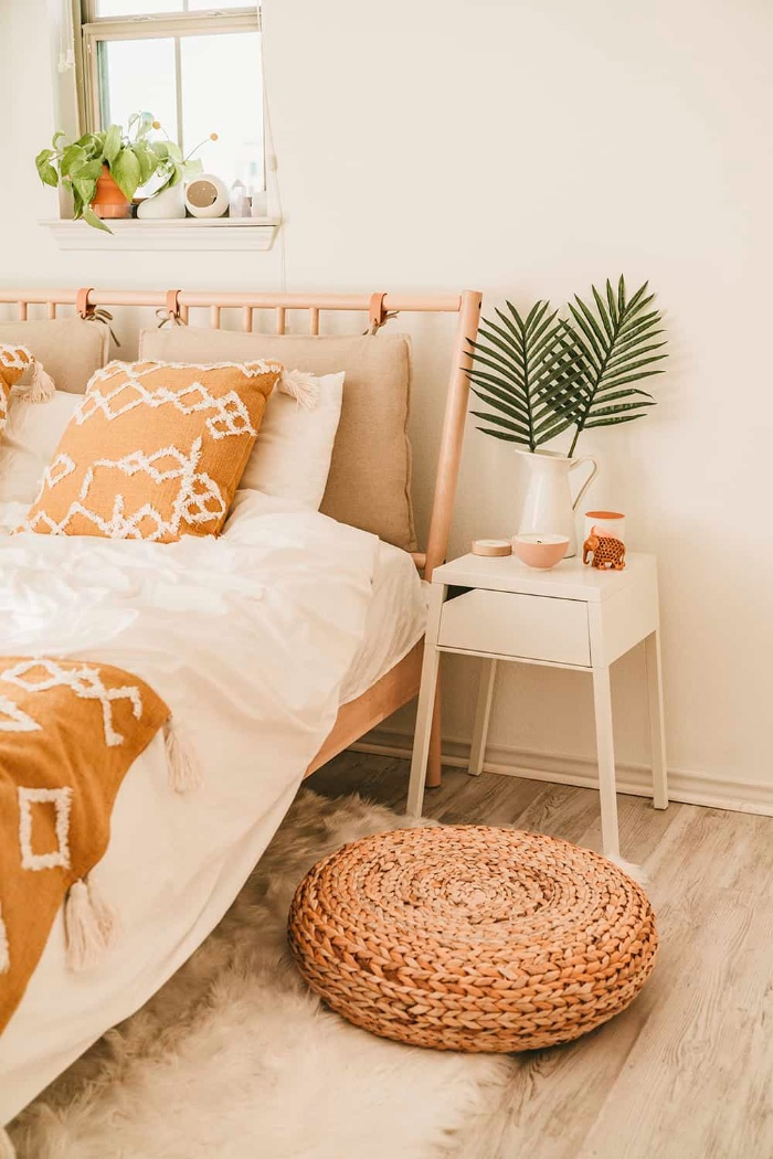 fresh bouquets spring home decor with natural elements in orange and beige