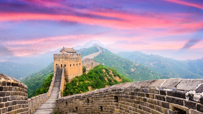 great wall of China virtual travel sunset on the wall of china