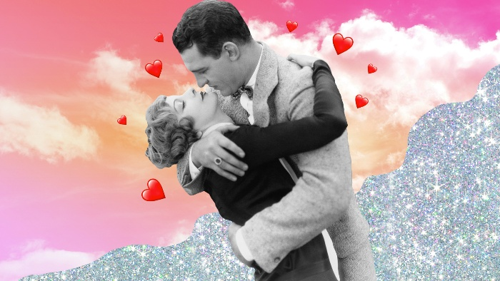 retro love collage couple cuddling on a pink sky background and glitter around