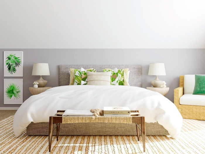 natural home decor elegant bedroom with white sheets and green accents