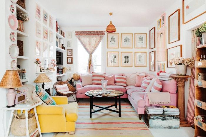 retro interiors pink and yellow interior cozy living room retro decor vintage furniture pieces