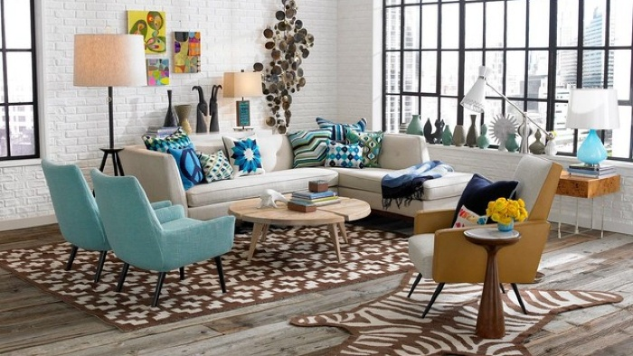 retro interiors vintage living room interior with large windows carpets and blue furniture pieces