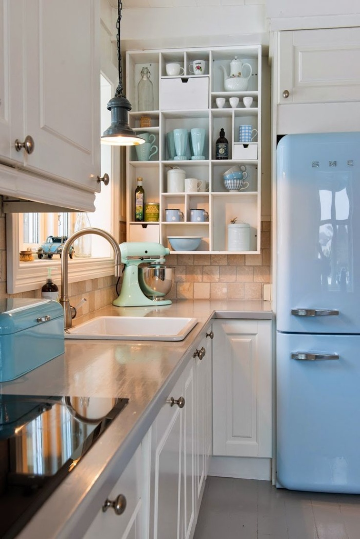 retro kitchen interior in blue and white vintage kitchen interior