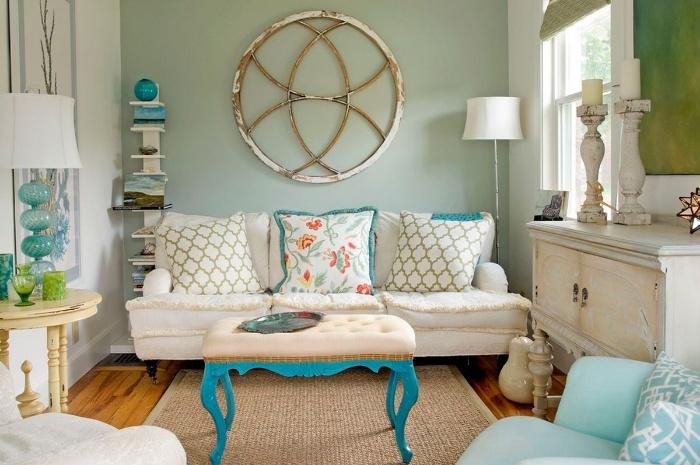 retro interiors romantic vintage interior living room pale blue retro couch and table