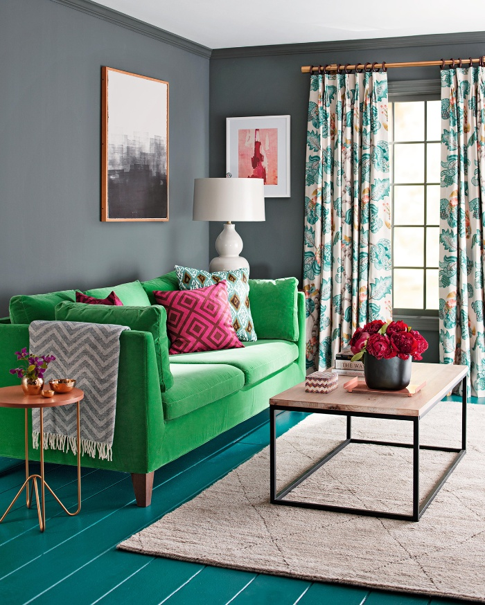 spring color scheme in a living room home decor in bright colors