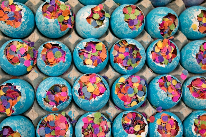 cascarones traditional mexican easter eggs painted with blue and confetti inside