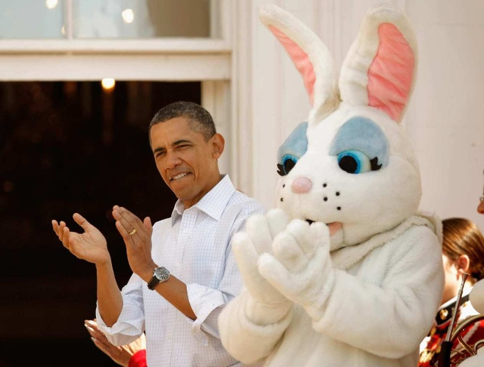 easter at the white house president obama with a bunny mascot