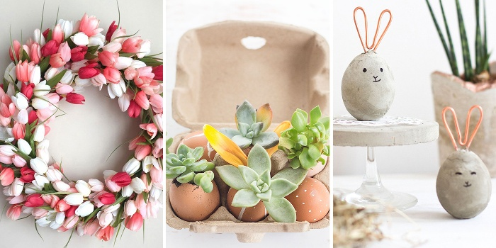 easter decor different ideas floral wreath egg vases and figurines