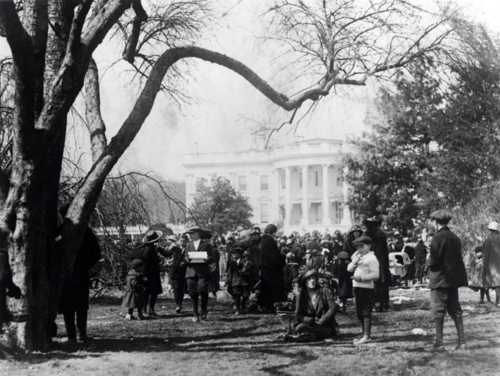 Easter egg roll in front of the white house black and white photography