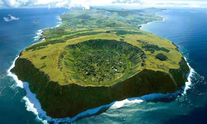 Easter island from above green island in the middle of the ocean