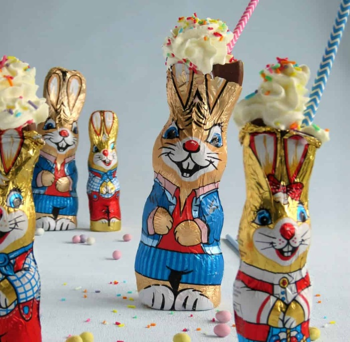 easter milkshakes with straws in hollow chocolate bunnies
