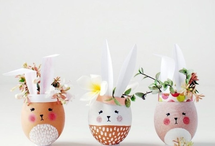 cute hollow egg rabbit vases with small flowers home decor