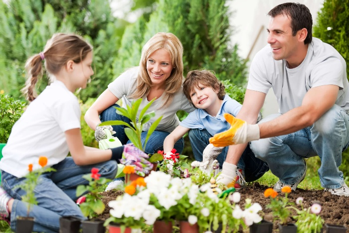 family outdoor activities family of four planting spring flowers in the garden together