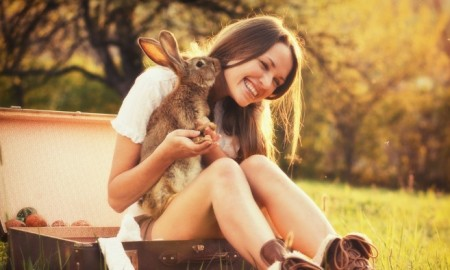 girl and rabbit