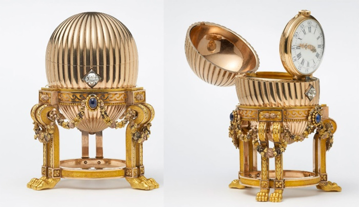 imperial egg golden faberge egg with a clock inside