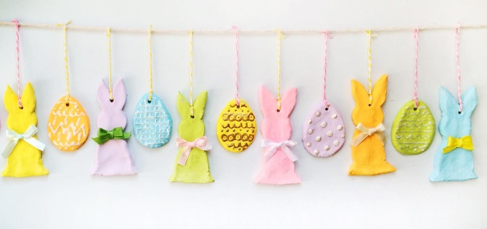 colorful easter salt ornaments on a pretty garland eggs and rabbits