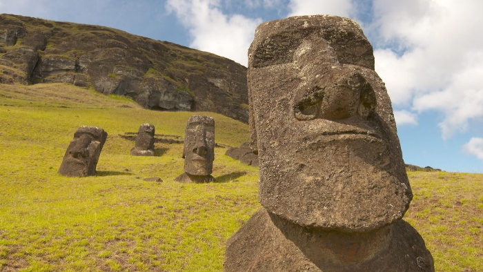 stone statues on the easter islands landscape