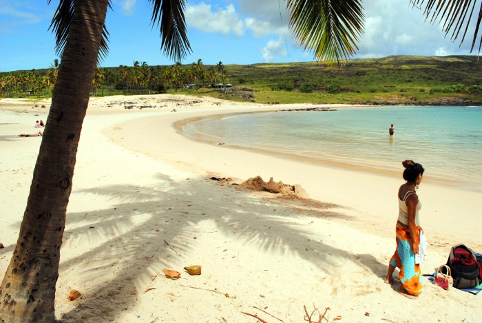 tropical beaches easter islands white sand beaches palm trees and a woman on the beach