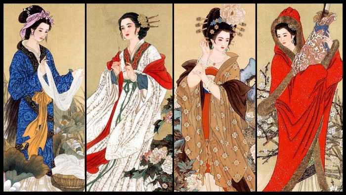 ancient china beauty standards colorful art women dressed in traditional clothes