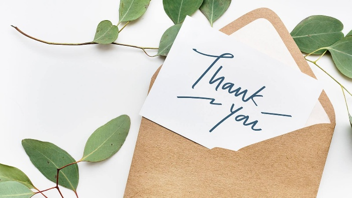 appreciation thank you letter in a brown envelope