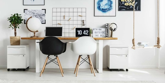 black and white home office interior design two chairs and a modern urban office