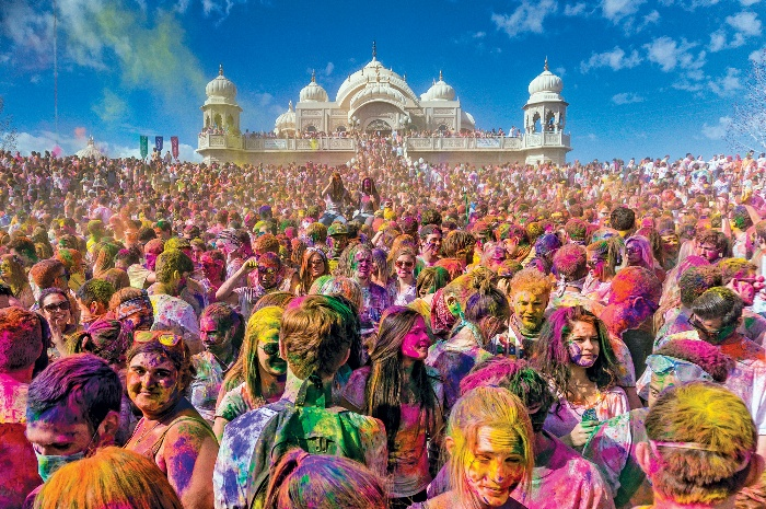 holi festival spign celebration in india full of people and colors