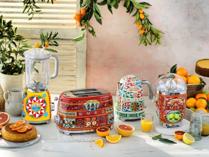 smeg dolce and gabbana kitchne equipment couture with citruses