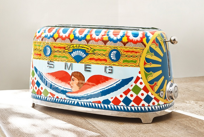 smeg equipment bright colorful toaster with dolce and gabbana motifs