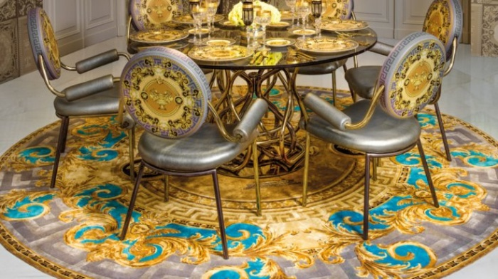 versace design dining room colorful rug and chairs