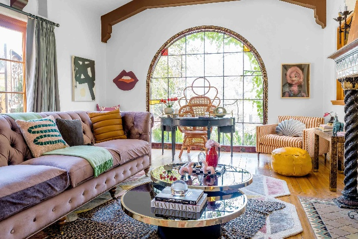 Maximalist approach to interior design colorful interior with large window