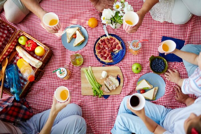 people sitting on a red blanket on a picnic with snacks and drinks in their hands