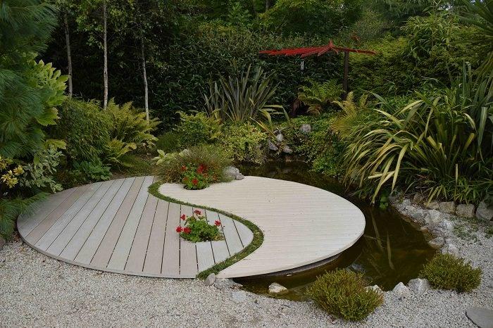 backyard design modern yin and yang wooden island