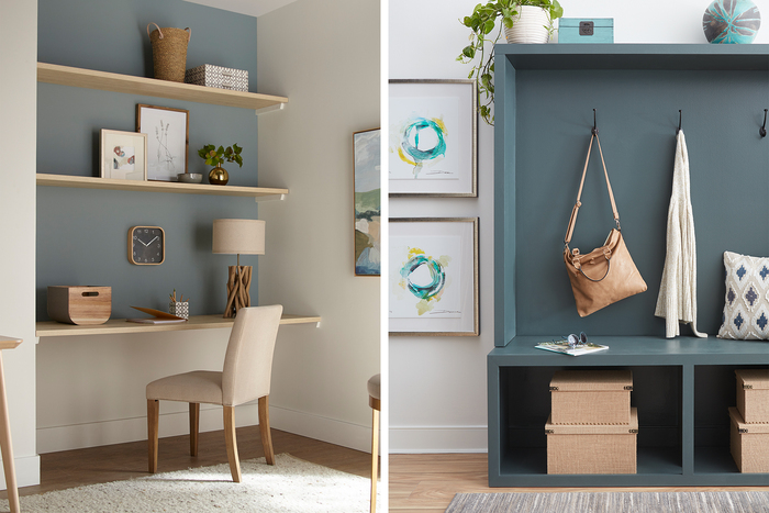 creating functional spaces in a hallway with shelves