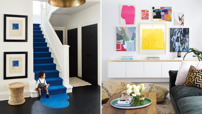decorating interior design colorful accents in an interior blue staircase and art pieces