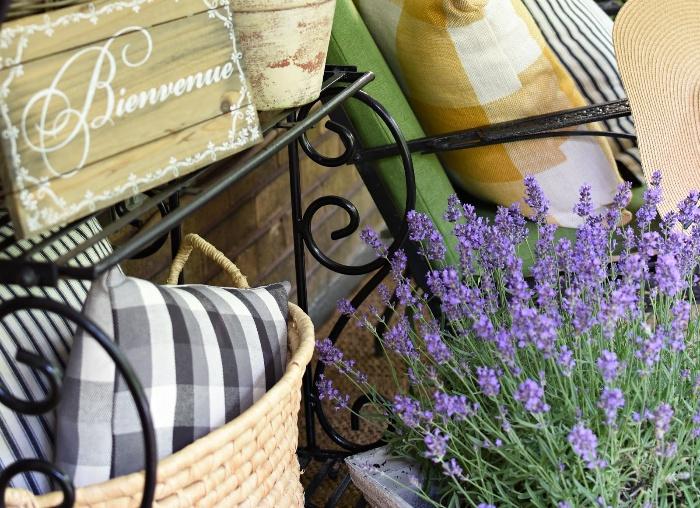 designs porch decor with lavender and decorative pieces