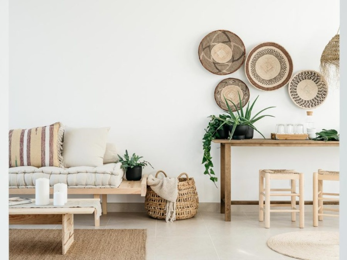 eco interior in natural colors and materials and living plants