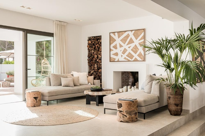 eco interiors in creamy natural colors living plants wood and beige interior design