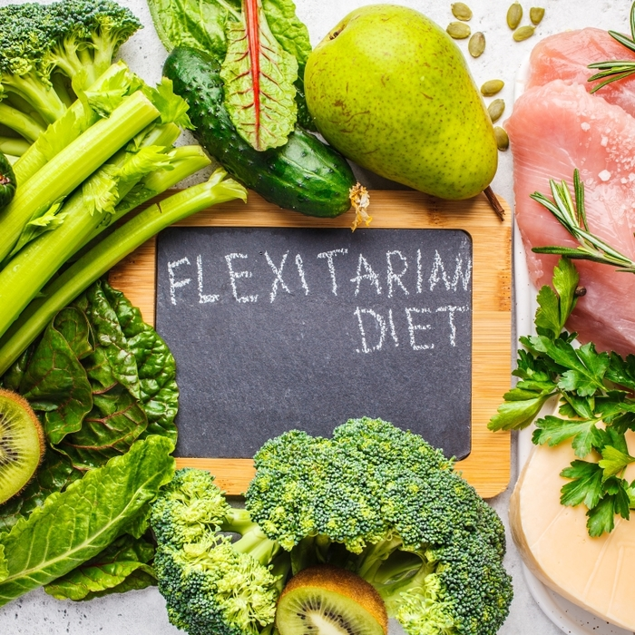 flexitarian diet sign surrounded by vegetables green fruits meat