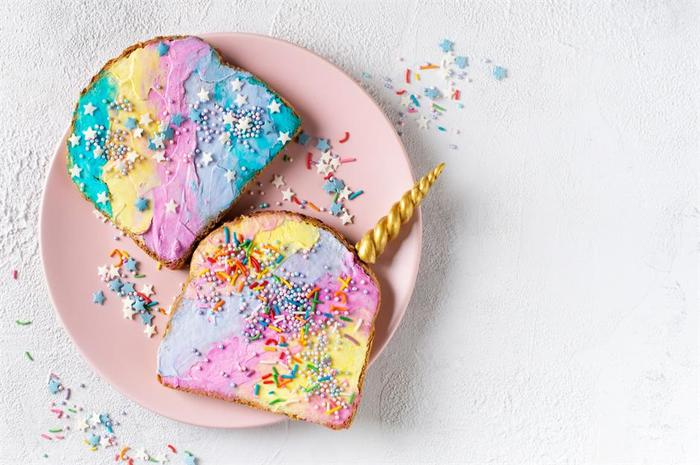 fun foods unicorn colorful toast in different colors with stars on a pink plate