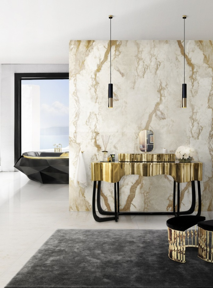 luxury home decor in black golden and a marble wall