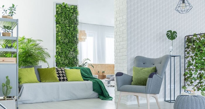 green design interior with plants and modern furniture