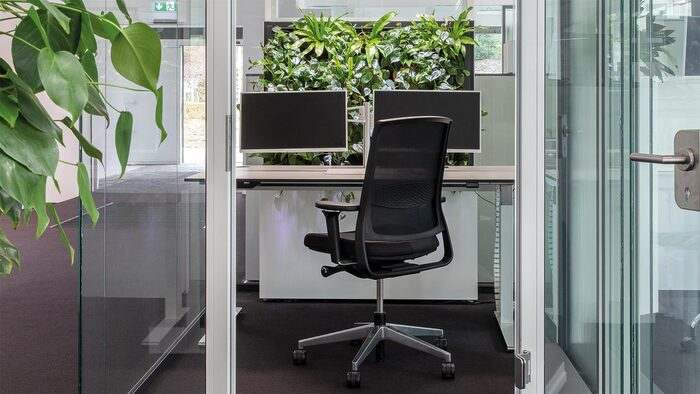 home office with living plants biophilic design with a chair and two monitors and glass