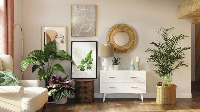 interior design living area with live plants and art