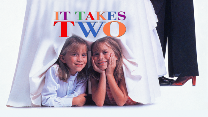 it takes two movie poster two twin sisters smiling under a bridal skirt
