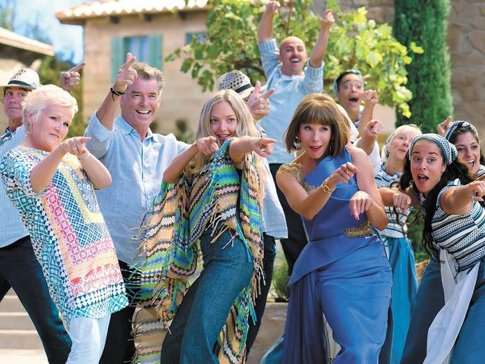 mamma mia movie scene cast dancing and having fun