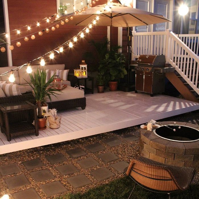 romantic porch design cute outdoor space with light bulbs and a parasol