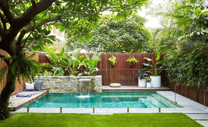 pool landscaping small tropical outdoor pool with green plants around